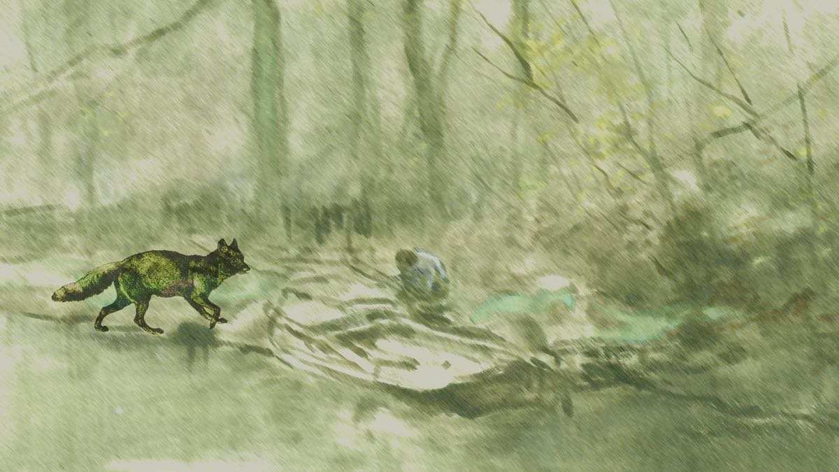A fox runs from the left in a woodland scene. At the centre, a figure crouches beside a hazy boat.